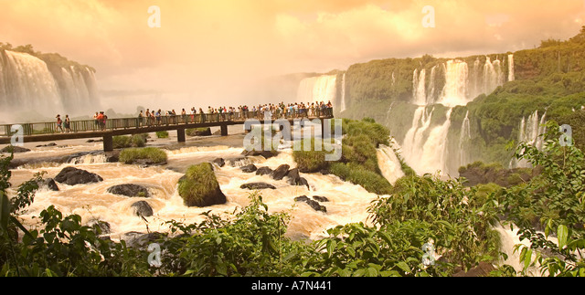 Argentina Brazil Iguazu Falls footpass over the huge falls at the border of Brazil and Argentina - Stock Image