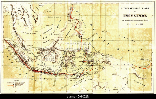 A vintage map of Malay Archipelago - Stock Image