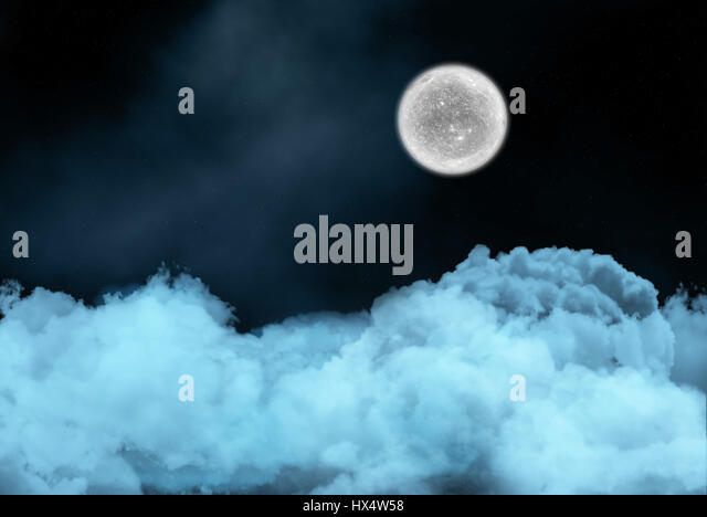 Night sky background with fictional moon above clouds - Stock Image