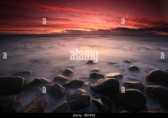 Coastal landscape at Larkollen in Rygge kommune, Østfold fylke, Norway. - Stock-Bilder