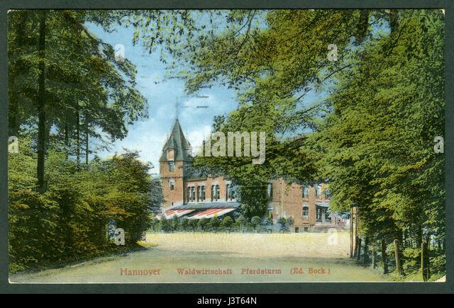 Karl F. Wunder PC 1119 Hannover Waldwirtschaft Pferdeturm (Ed. Bock.) Ansichtsseite, druckcoloriert - Stock Image
