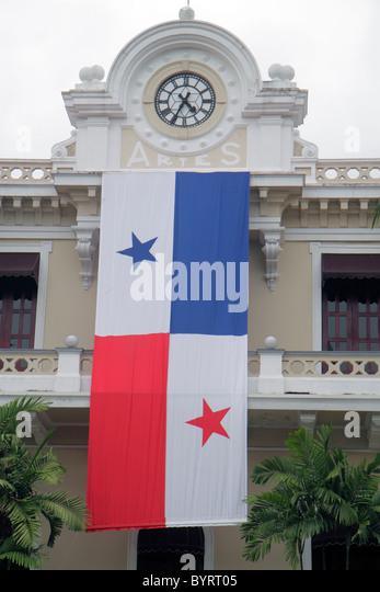 Panama Panama City Calidonia building clock Panamanian flag nationalism star - Stock Image