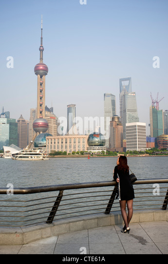 View of cityscape of Pudong financial district of Shanghai in China - Stock Image