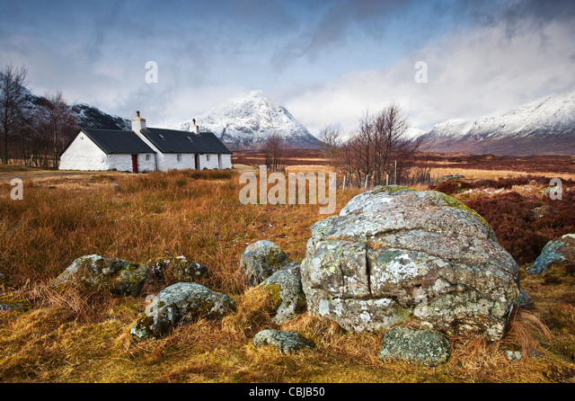Blackrock Cottage Buchaille Etive Mor Rannoch Moor Scotland - Stock Image