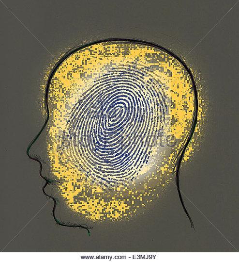 Fingerprint inside man's head - Stock Image