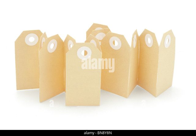 Brown paper card labels standing on white background - Stock Image