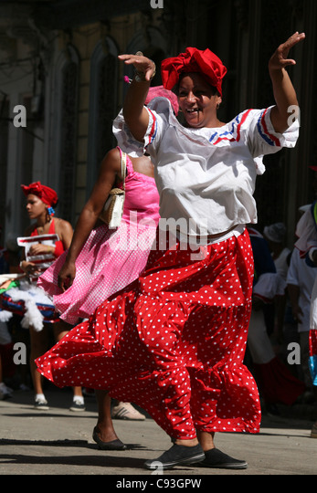 Street carnival in the historical centre of Havana, Cuba. - Stock Image