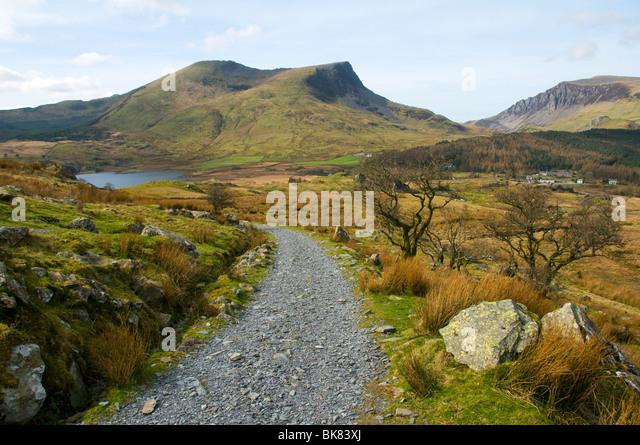 Mynydd Drws-y-coed and Y Garn (Nantlle Ridge) over Llyn-y-Gadair, Snowdonia, North Wales, UK - Stock Image