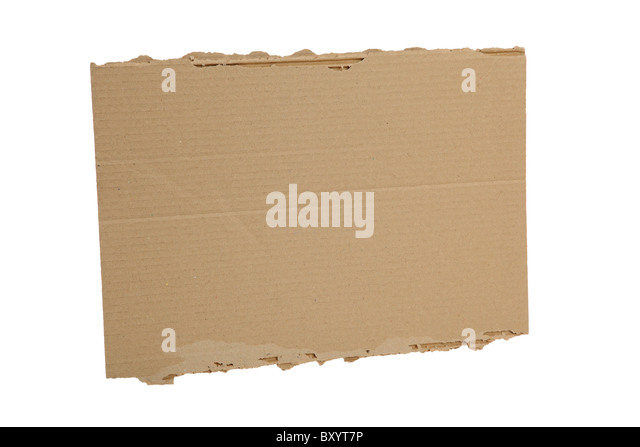 Blank cardboard sign on white background - Stock Image