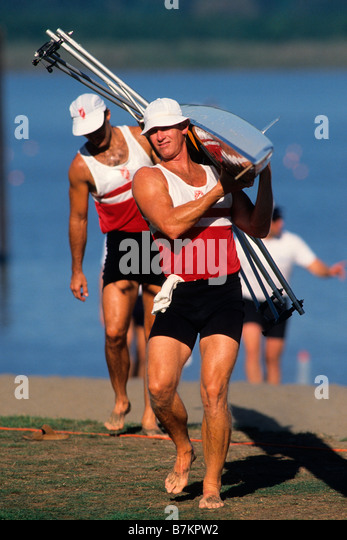 Men s pairs rowing team - Stock Image