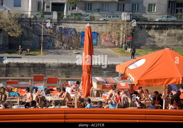 Vienna Badeschiff Wien Donau river - Stock Image