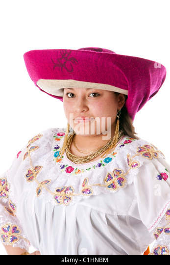 Face of a beautiful Latin Gypsy woman from South America dressed in Folklore clothes with hat from Ecuador, Colombia, - Stock Image