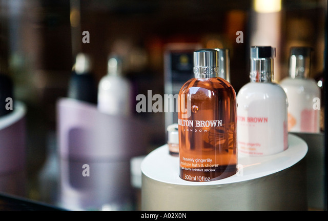 Close up of Molton Brown store window near Fenchurch Street London - Stock Image