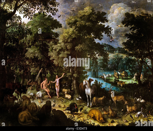 The Earthly Paradise 1610 Jan Brueghel the Elder  (1568-1625) Flemish Belgian Belgium - Stock Image