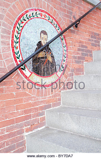 Maryland Baltimore Little Italy ethnic neighborhood community St Leo's Roman Catholic Church entrance stairs - Stock Image