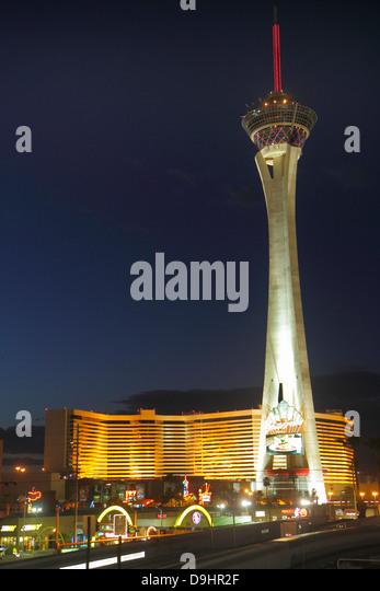 Nevada Las Vegas Stratosphere Casino Hotel & Tower night nightlife - Stock Image