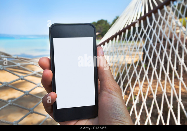 internet connection on the beach - Stock-Bilder
