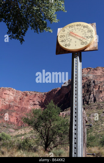 Thermometer measuring 110 degrees centigrade at Indian Garden, Grand Canyon, Arizona, USA. Taken in August. - Stock Image