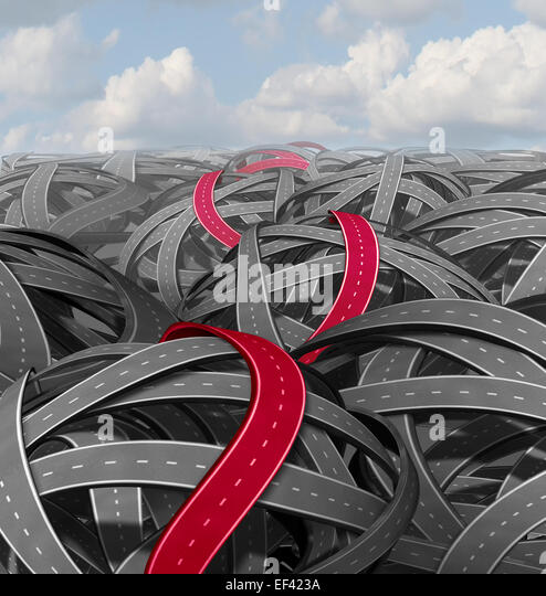 Red success path concept as a group of tangled roads and a highlighted pathway leading to a an easy solution on - Stock-Bilder