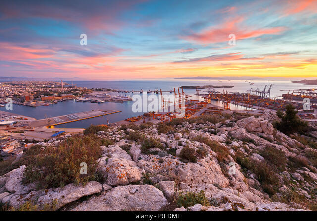 View of Piraeus harbour in Athens from the foothills of Aegaleo mountains. - Stock Image