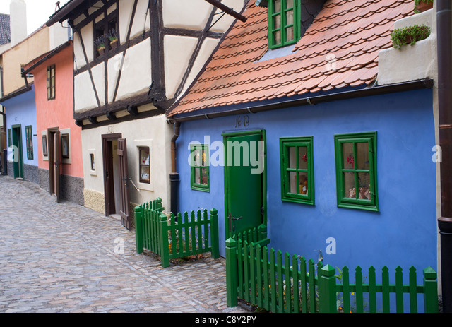 Old colourful houses in Golden Lane or Zlata Ulicka at Prague Castle in Prague in Czech Republic - Stock Image