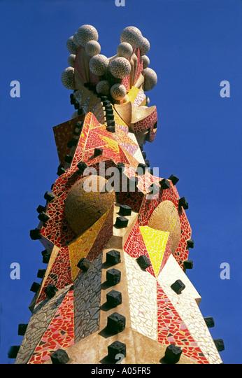 Sagrada Famlia by Gaudi Tower Pinacles - Stock Image
