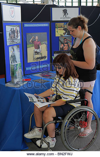 Miami Coconut Grove Florida Shake-a-Leg Miami No Barriers Festival disabled physical disability handicapped sports - Stock Image