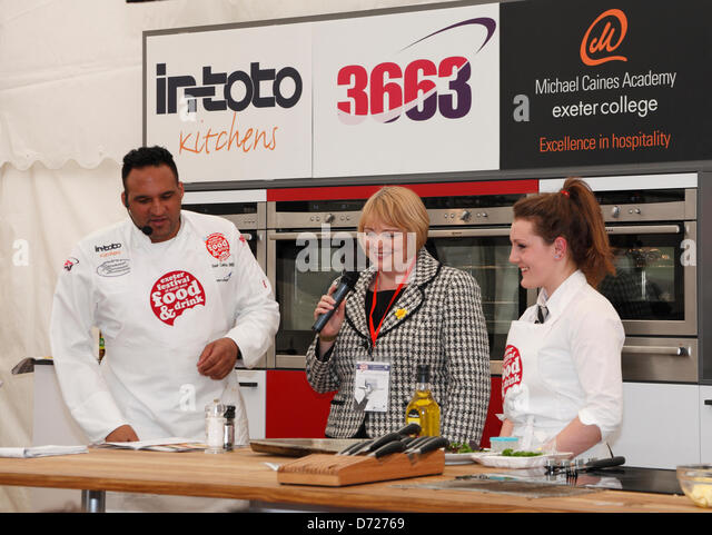 Exeter, UK. 26 April 2013. Celebrity chef Michael Caines at The Exeter Festival of Southwest Food and Drink compering - Stock Image