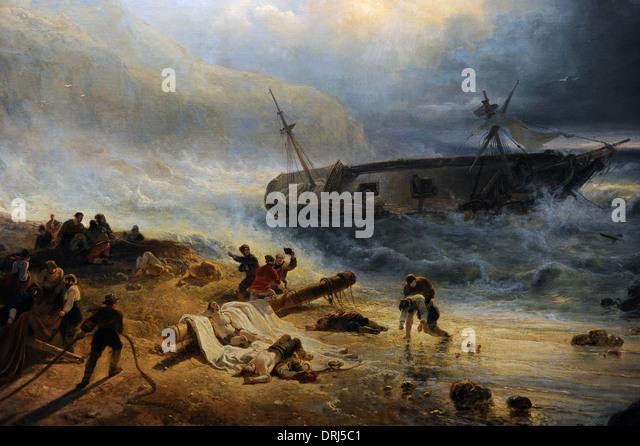 Wijnand Nuijen (1813-1839). Dutch painter. Shipwreck off a Rocky Coast, c.1837. Detail. Rijksmuseum. Amsterdam. - Stock Image