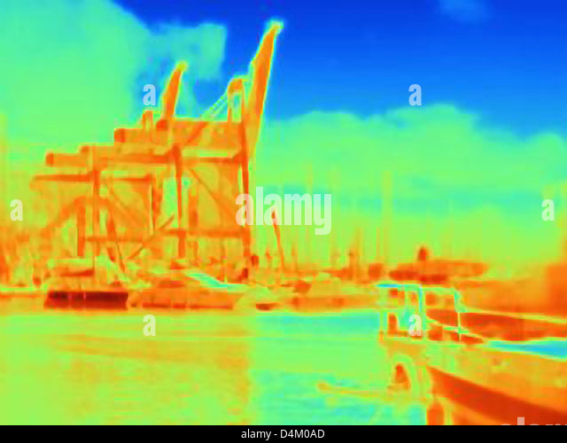 Thermal image of industrial harbor - Stock Image