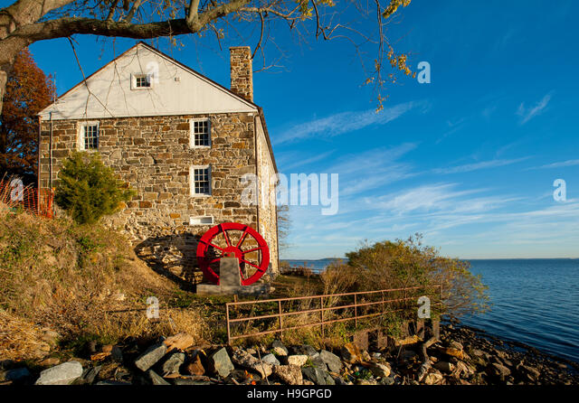 USA Maryland MD Cecil County Grist Mill at Perry Point Perryville 1750s 1700s on the campus of the Veterans Administration - Stock Image
