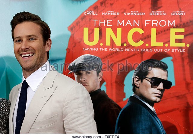epa04879606 US actor Armie Hammer arrives to the Warner Bros. Pictures 'THE MAN FROM U.N.C.L.E.' movie premiere - Stock Image