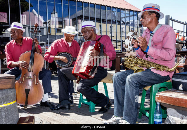 Cape Town South Africa African V & A Victoria Alfred Waterfront Dixieland jazz band musicians playing performing - Stock Image