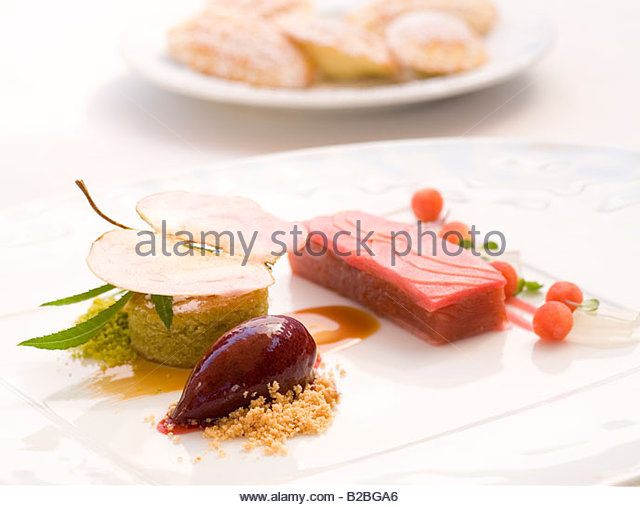 Close up of food on plate - Stock Image