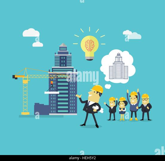 Implementation Ideas Architect. Implementation ideas architect. Successful architect in helmet and with blueprints - Stock-Bilder
