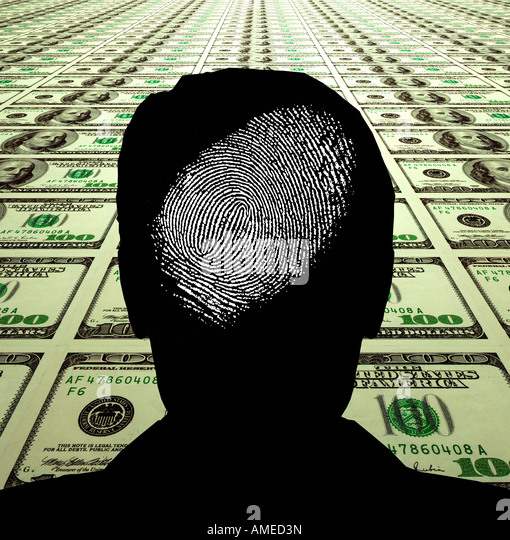 abstract silhouette of man finger print on field of tiled $100 bills - Stock Image