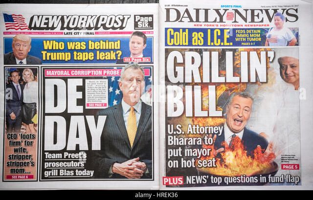 Front pages of New York tabloid newspapers on Friday, February 24, 2017  report on