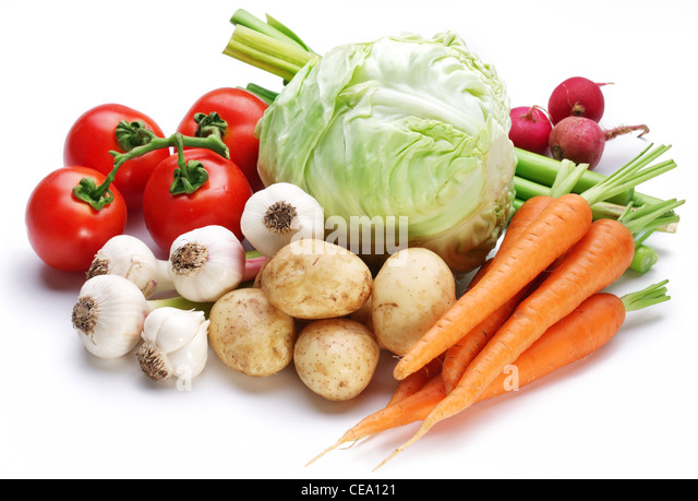vegetables on white background - Stock Image