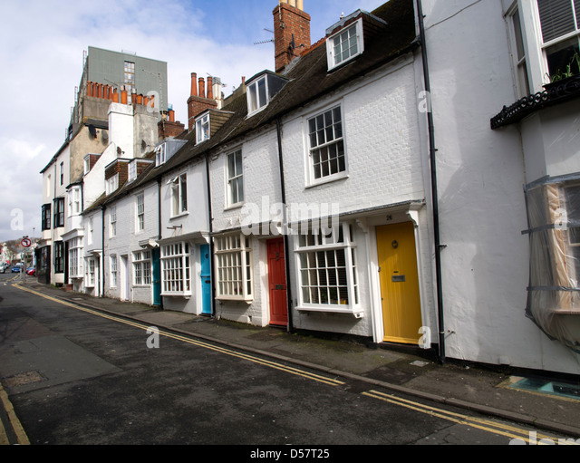Cottages in Camelford Street, Brighton, off the seafront - Stock Image