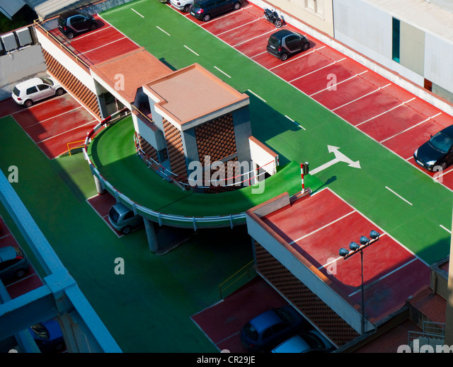Overview of roof top car park. - Stock Image