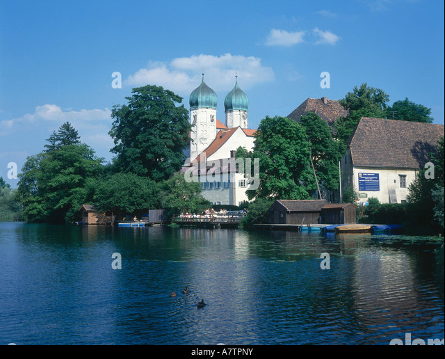 Abbey at waterfront, Seeon Abbey, Bavaria, Germany - Stock Image