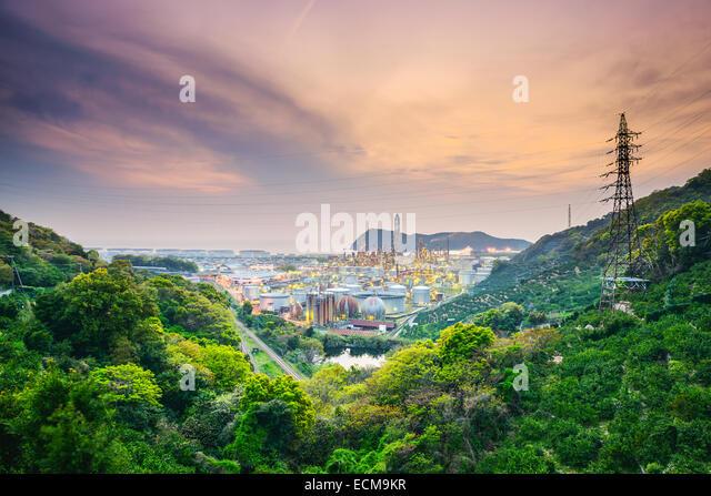 Wakayama, Japan oil refineries. - Stock Image