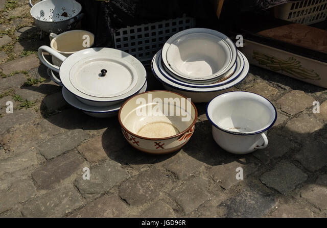 KORNELIMUENSTER, GERMANY, 18th June, 2017 - pots for sale on the historic fair of Kornelimuenster. - Stock Image