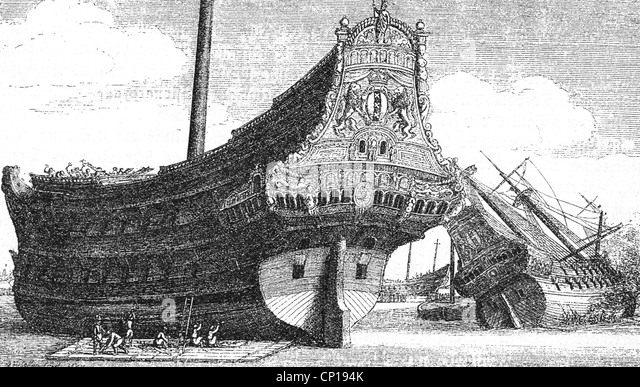 transport / transportation, seafaring, navigation, merchant ship, ship of the Dutch East Indian Company, 17th century, - Stock Image