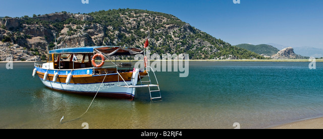 Boat on Dalyan River Mugla Turkey - Stock Image