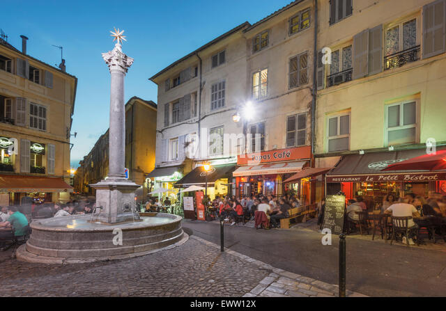 Place des Augustins , Vieil Aix , Bars, Restaurants, Aix en Provence, Bouches du Rhone, Provence, France - Stock Image