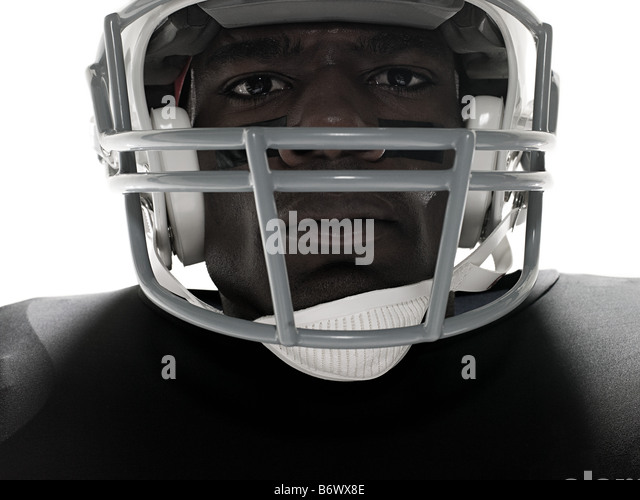 Close up of an american football player - Stock Image