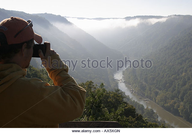 West Virginia Fayetteville New River Gorge National River morning fog Canyon Rim Visitor Center Overlook visitor - Stock Image
