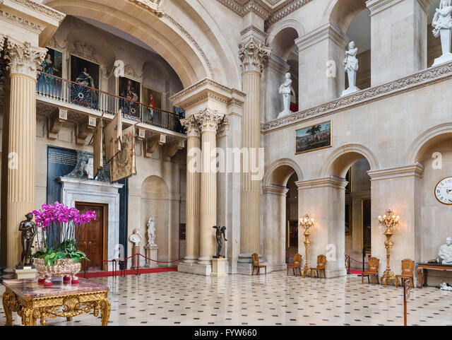 Entrance Hall in Blenheim Palace, seat of Dukes of Marlborough and birthplace of Winston Churchill, Woodstock, Oxfordshire, - Stock Image