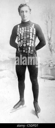 E. Lamy, champion skater, Edmund Lamy international speed skating champion, circa 1908 - Stock Image
